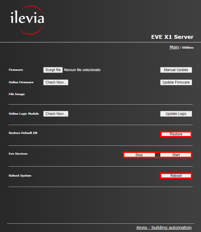 All the features of the utility menu inside the web interface of the Home automation server EVE X1