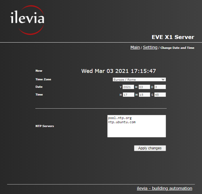 How to customize the date and time settings from inside the Home automation software EVE server