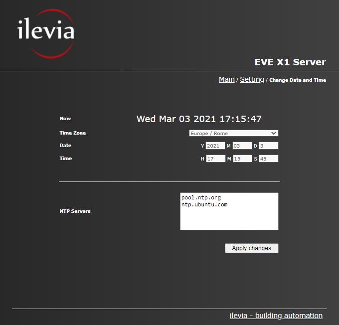 Come impostare l'ora e la data del server per il controllo della domotica EVE X1 tramite l'interfaccia web
