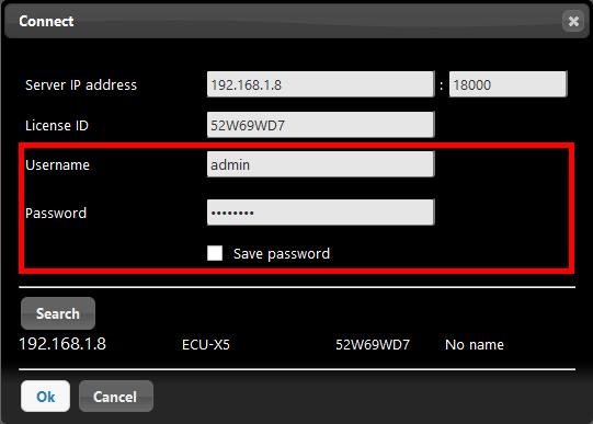 Inserimento delle credenziali all'interno del software per la configurazione della domotica EVE Manager per la connessione al server per il controllo della domotica EVE X5
