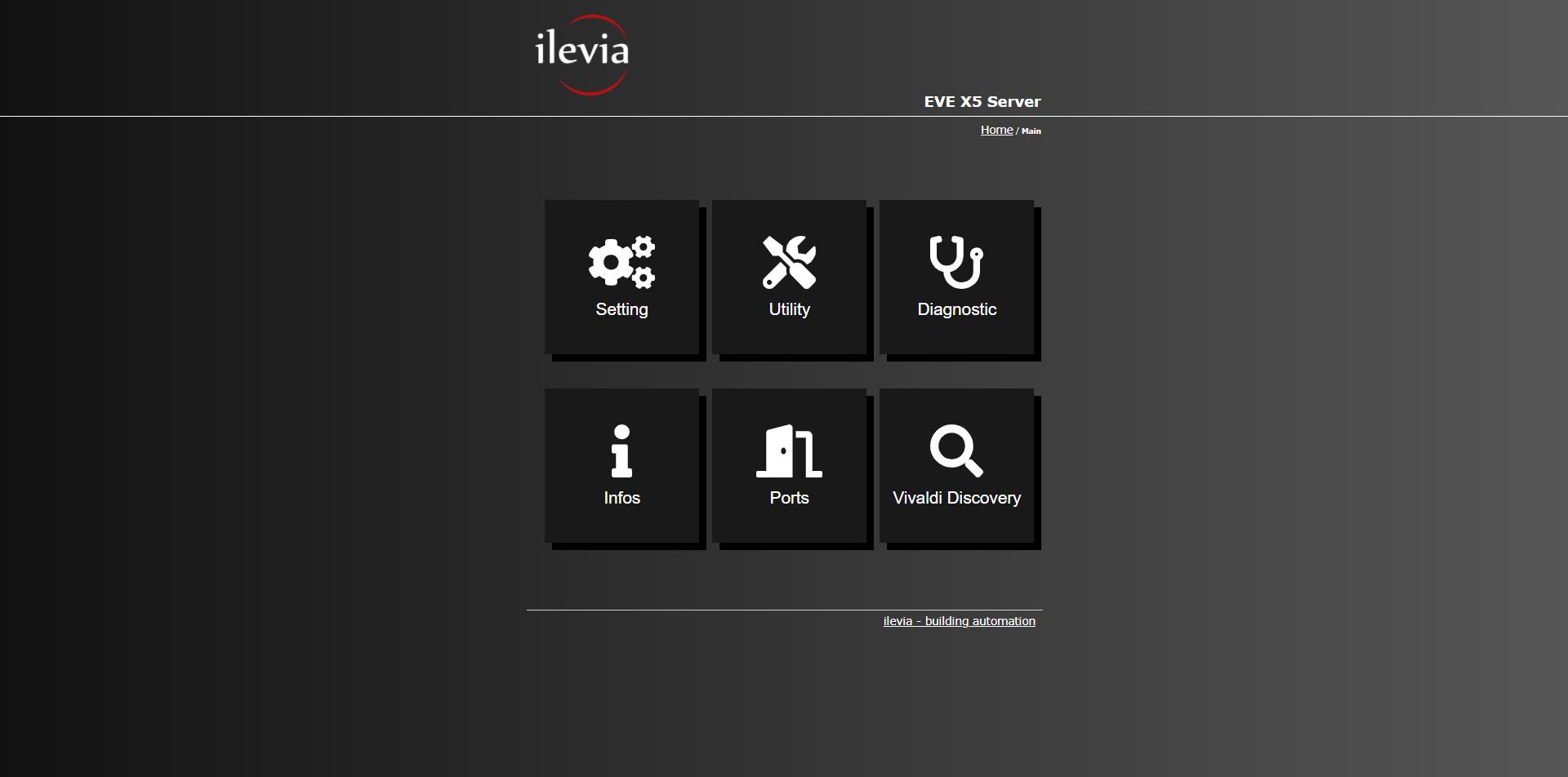 Menu di configurazione all'interno della interfaccia web del server per il controllo della domotica EVE X5