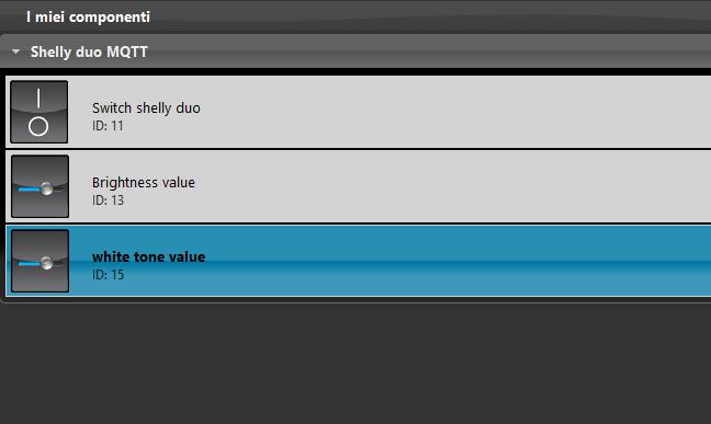 Componente Cursore all'interno del software per la configurazione della domotica EVE Manager