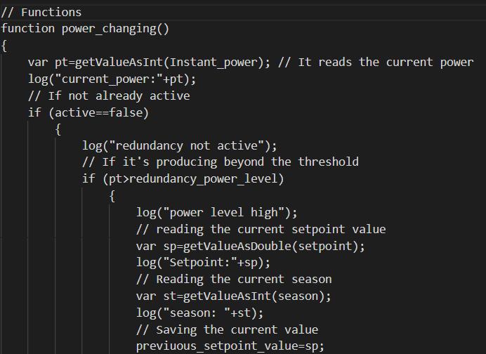 Prima parte della funzione che andrà ad acquisire il valore della potenza istantanea e quindi se procedere con l'esecuzione oppure no