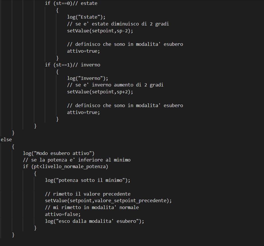 Seconda parte della funzione, questa parte legge il valore della lista a opzioni e per così impostare il valore al set point in base al valore presente all'interno della lista a opzioni. Se la potenza non è abbastanza la funzione verrà fermata