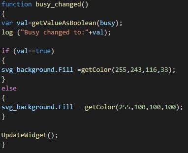 Funzione busy_changed, questa variabile permette all'utente di visualizzare lo stato di occupazione della singola stanza tramite una transizione di colore che avrà effetto sull'elemento background del componente Custom widget all'interno dell'interfaccia utente di EVE Remote Plus.