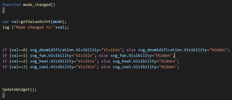 Funzione mode_changed, questa funzione permette di cambiare la modalità corrente di un termostato, in base al valore del componente lista a opzioni le icone corrispondenti alla modalità verranno mostrate  oppure nascoste all'interno del componente svg nell'interfaccia utente di EVE Remote Plus