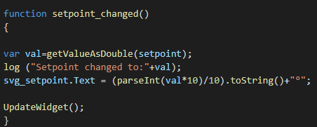Funzione setpoint_changed, questa funzione permetterà all'utente di visualizzare il valore del setpoint attuale applicato all'elemento corrispondente all'interno dell'interfaccia utente di EVE Remote Plus