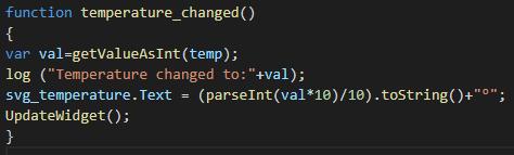 Funzione temperature_changed, questa funzione server per impostare il valore della temperatura corrente all'elemento corrispondente del componente Custom widget nell'interfaccia Utente di EVE Remote Plus.