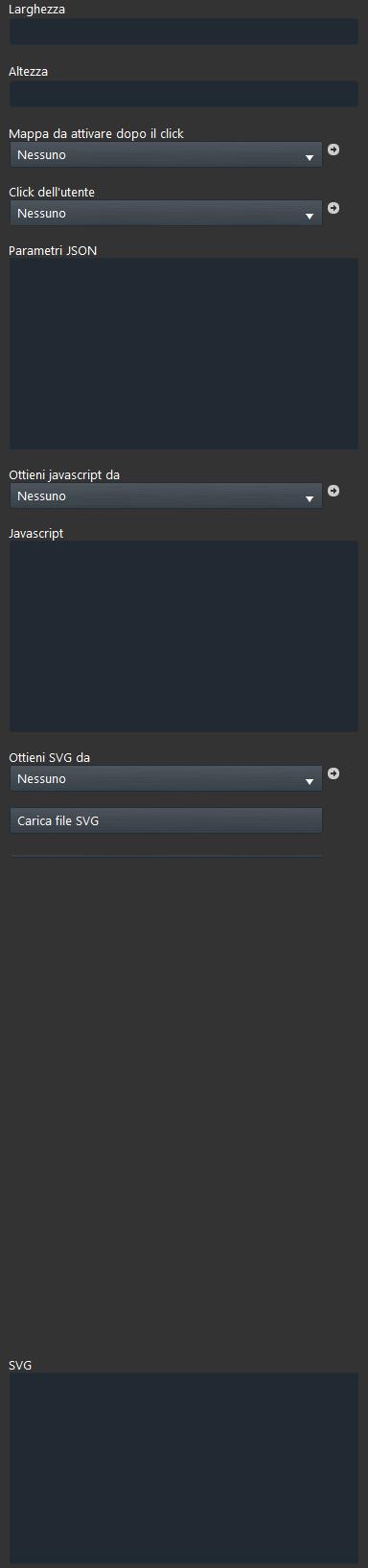 Proprietà componente Custom widget all'interno del software per la configurazione della domotica EVE Manager pro