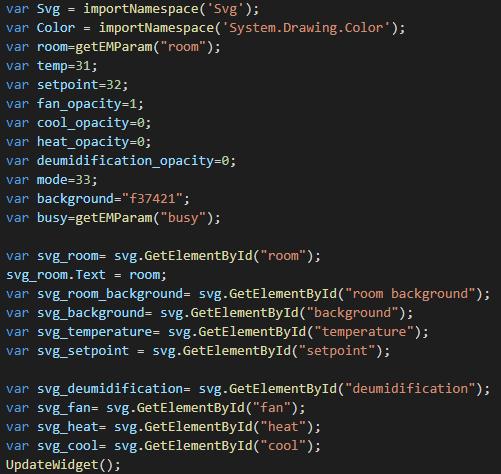 Elenco di tutte le variabili che verranno usate all'interno di questo script java
