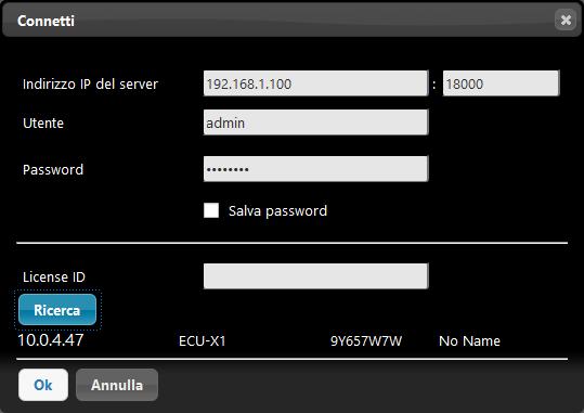 Cercando il server EVE all'interno della rete locale attraverso il la wizard di connessione all'interno del software di configurazione EVE Manager