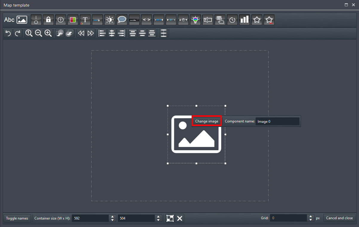 How to select the back ground image from the Edit template inide the Map template Component