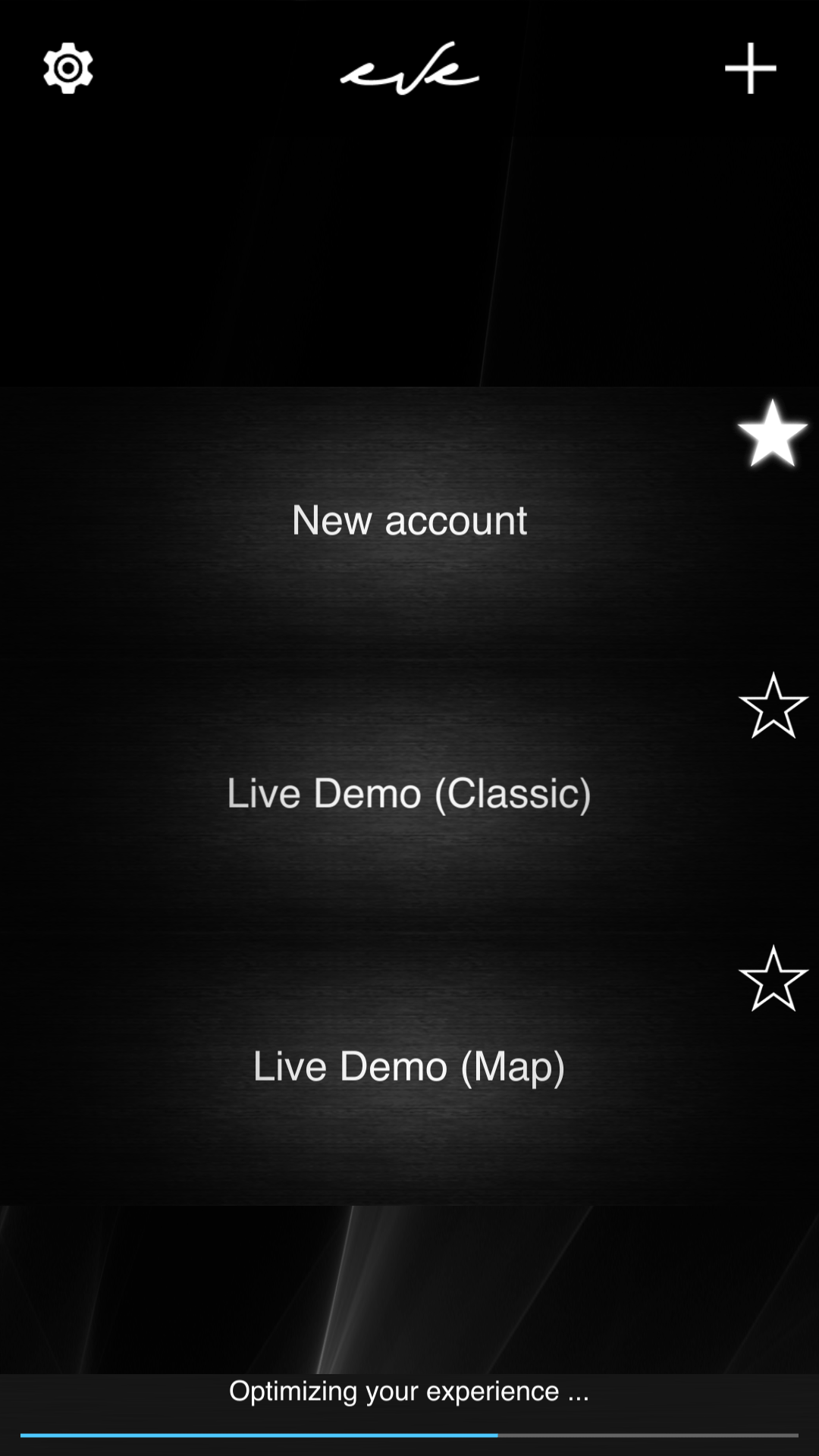 First connection inside the new account in the Home automation App EVE Remote Plus