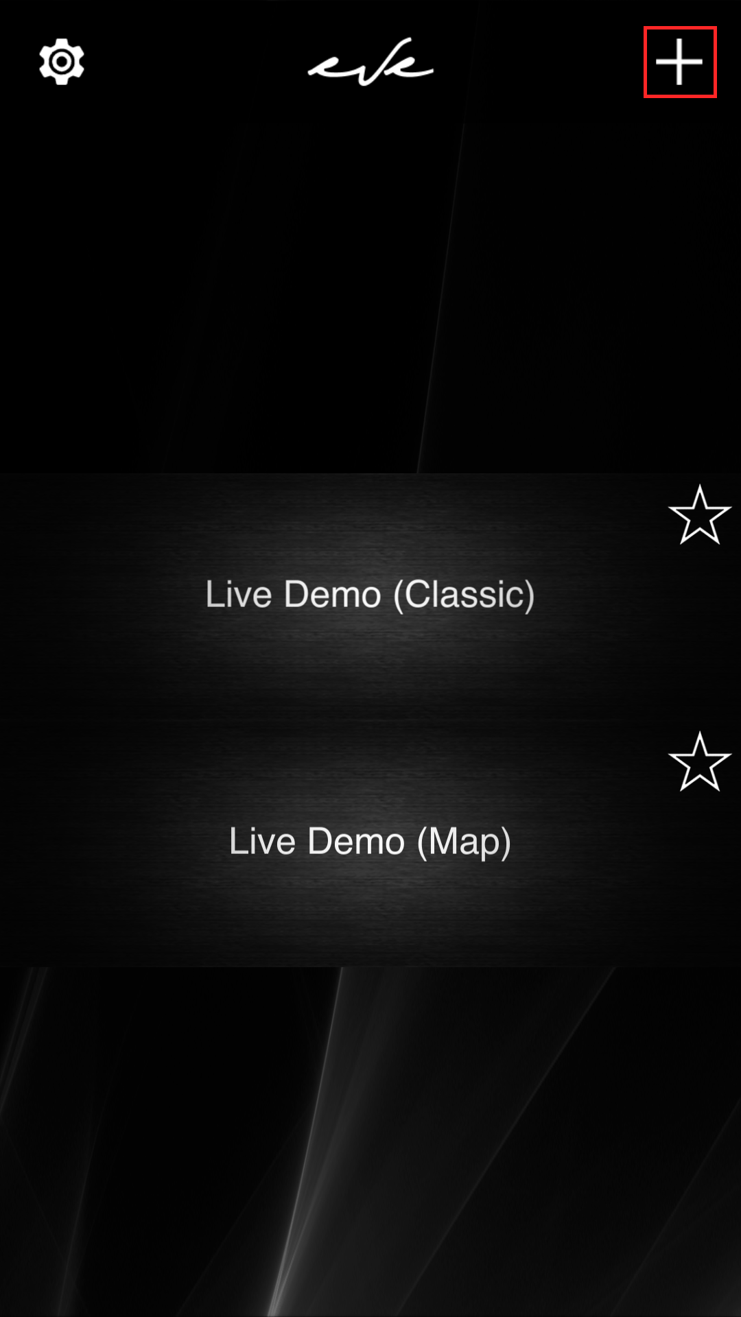 Main screen inside the Home automation app EVE Remote Plus