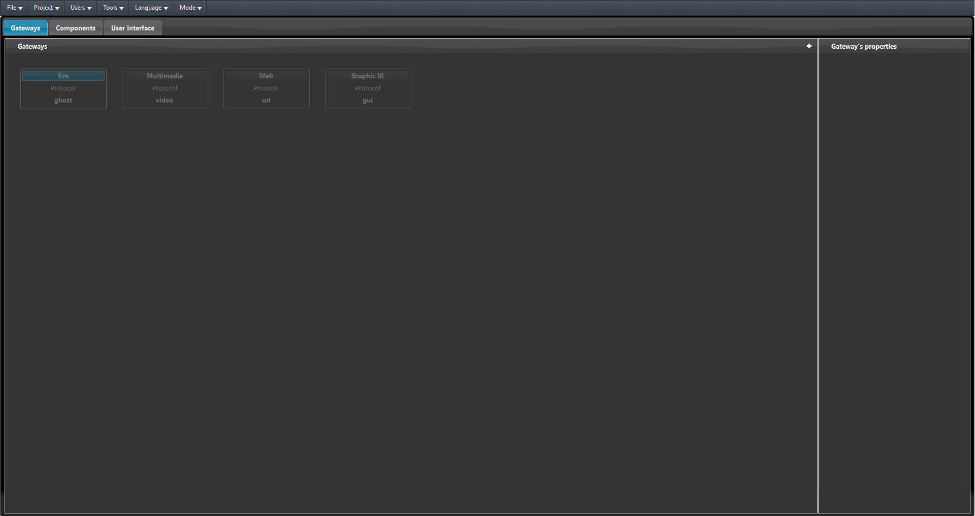 How the gateway tab looks like inside the Home automation configuration software EVE Manager Pro